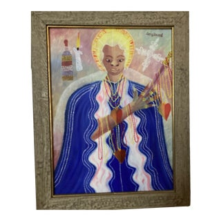 1980s Figurative Haitian Folk Art Painting by Camy Rocher, Framed For Sale