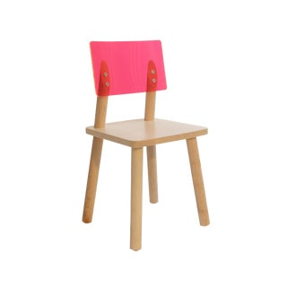 AC/BC Kids Chair in Solid Maple With Pink Acrylic Back For Sale