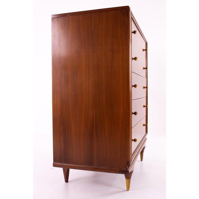 "Kent Coffey Kent Coffey ""The Continental"" Mid Century Walnut Highboy Dresser For Sale - Image 4 of 12"