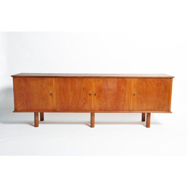 French Mid-Century Modern Walnut Veneer Sideboard For Sale - Image 4 of 13