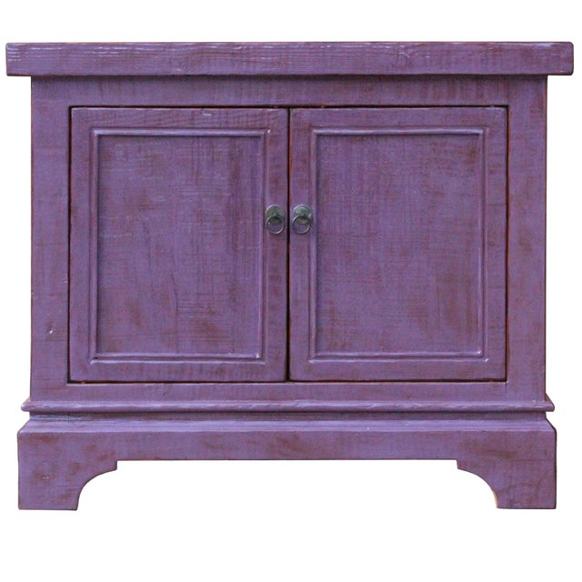 Elm Distressed Purple Lacquer Rough Raw Wood Credenza Console Table Cabinet For Sale - Image 7 of 9
