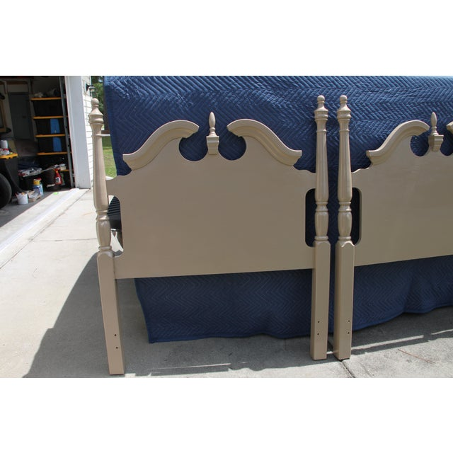 Cherry Wood Hollywood Regency Georgian Camel / Putty Gloss Twin Headboards - a Pair For Sale - Image 7 of 10