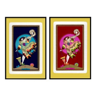 Large Custom Framed Print of Vintage Abstract Palm Beach Art Deco Woman Art – a Pair For Sale