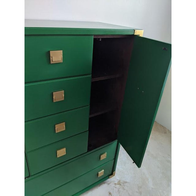 1970s 1970s Thomasville Campaign Gloss Green Highboy Dresser For Sale - Image 5 of 10