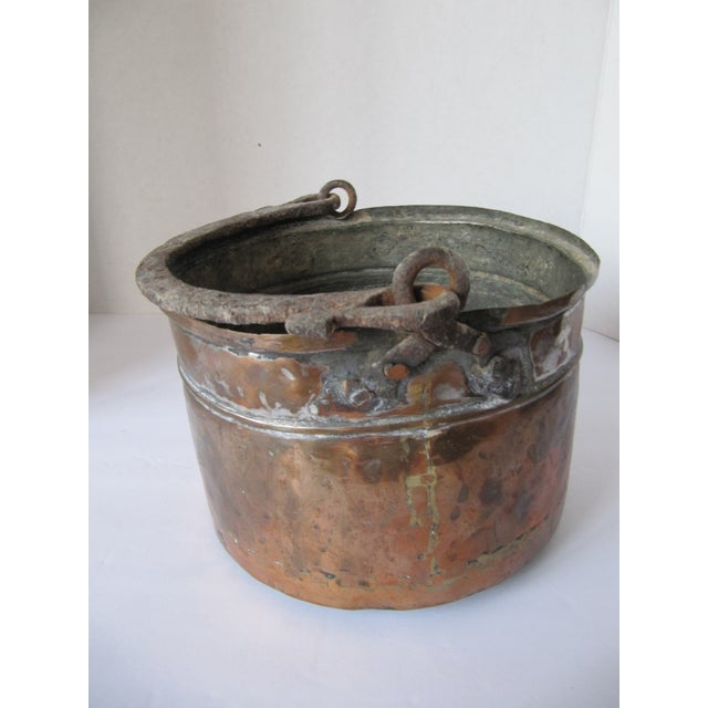 Antique Handmade Copper Pot With Iron Handle For Sale - Image 4 of 8