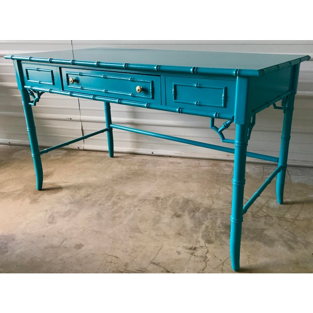 Thomasville Lacquered Faux Bamboo Desk For Sale - Image 10 of 10