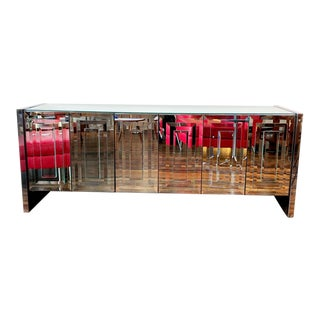 1970s Mid-Century Ello Mirror and Stainless Steel Six-Door Credenza For Sale
