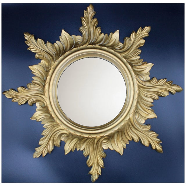 Mid-Century Gold Gilded Italian Sunburst Wall Mirror For Sale - Image 6 of 10