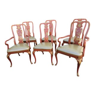 Kindel Chinoiserie Queen Anne Dining Chairs - Set of 6 For Sale
