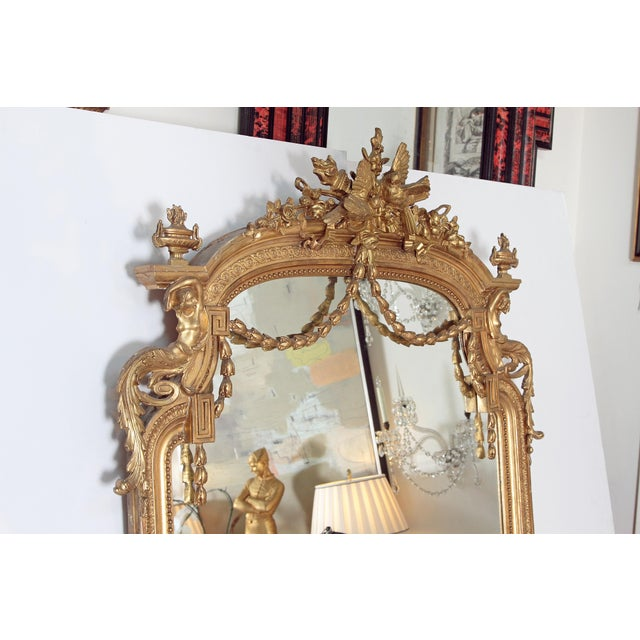 Elaborate 19th Century Louis XVI Style Gilt Mirror For Sale - Image 9 of 12