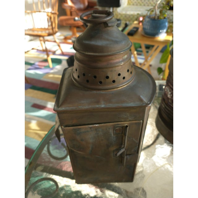 Mid 20th Century Copper Nautical Lanterns - a Pair For Sale - Image 9 of 13