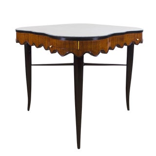 1940s Game Table, Mahogany, Corner Drawers, Brass, Felt, Italy For Sale