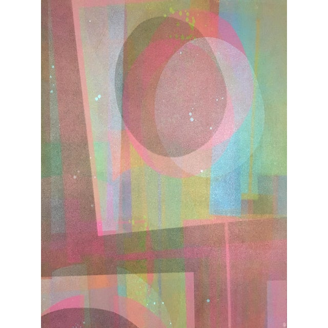 1970s Vintage Mid-Century Abstract Geometric Painting by Marian Ford For Sale - Image 5 of 8