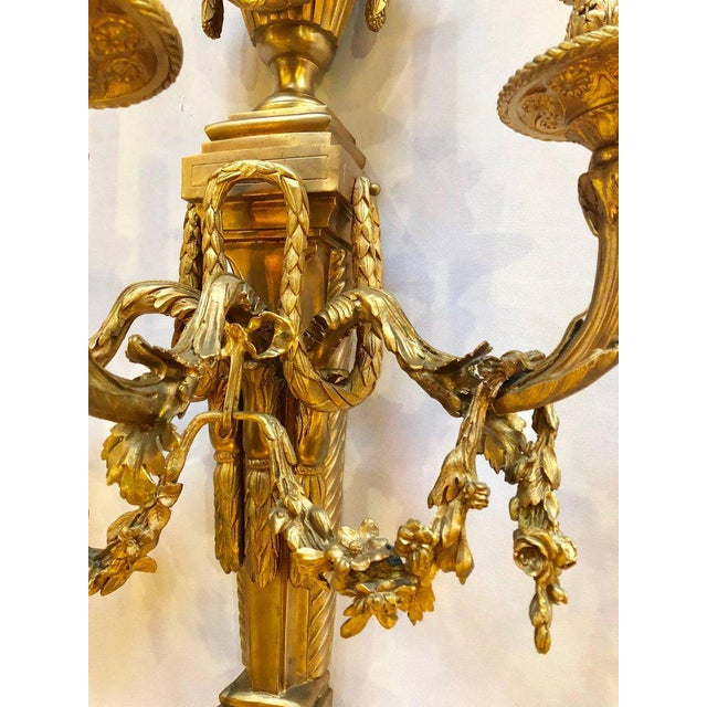 Mid 20th Century Pair of French Louis XVI Style Dore Bronze Sconces With Foundry Name For Sale - Image 5 of 13