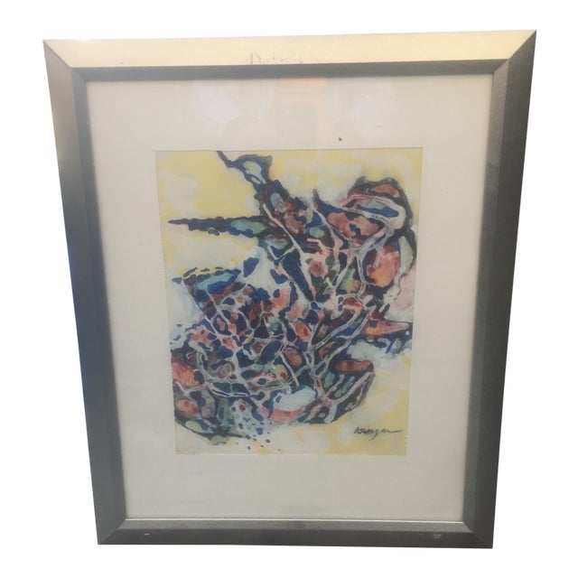 Mid-Century Abstract Painting by H. Kruger - Image 1 of 5