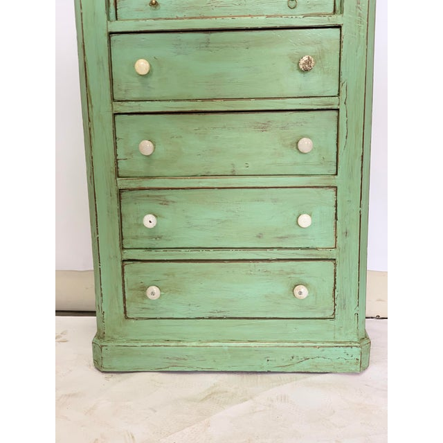 Green 19th Century Spanish Green Pharmacy Cabinet For Sale - Image 8 of 12