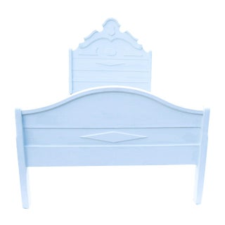 Antique White Country Cottage Bed For Sale