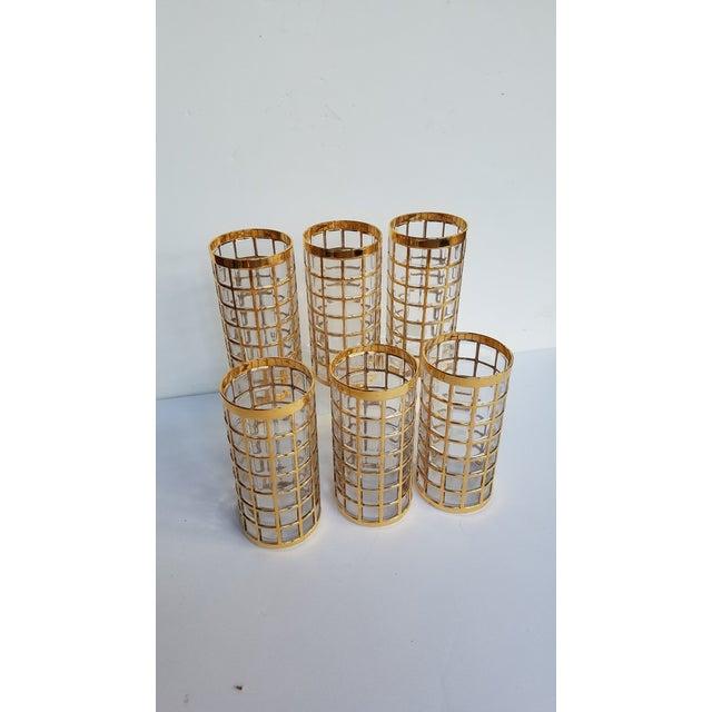 Mid Century Vintage Imperial Glass Hollywood Regency Gilt Tumbler Glasses- Set of 6 For Sale - Image 4 of 4
