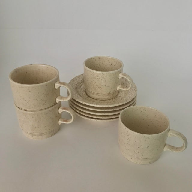 Homer Laughlin Mid-Century Modern Coffee Cups & Plates - Set of 4 - Image 6 of 6