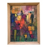 Image of 1960s Vintage Abstract Geometric Shapes & Figures Painting For Sale