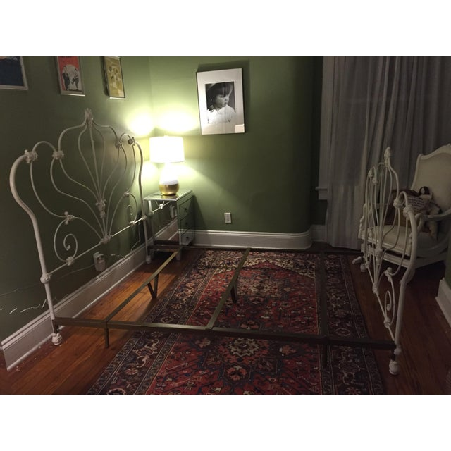 Antique White Rod Iron Double or Queen Bedframe - Image 4 of 7
