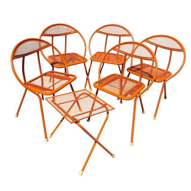 Orange 1960s Vintage Maurizio Tempestini for Salterini Hoop Seating Set- 6 Pieces For Sale - Image 8 of 8