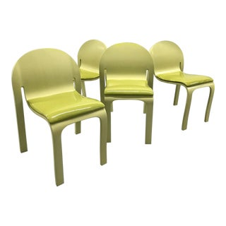 Chartreuse Lacquered Peter Danko Chairs — Set of 4 For Sale