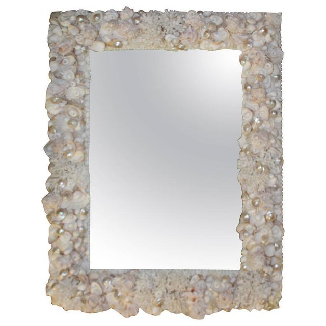 Mid 20th Century Vintage Seashell Encrusted Wall Mirror Palm Beach Vintage Coral Shell For Sale - Image 5 of 5