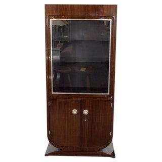French Art Deco Streamlined Walnut & Nickeled Bronze Illuminating Bar Cabinet For Sale