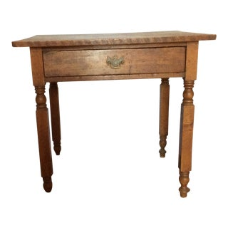 Primitive American Pine Table With Drawer For Sale