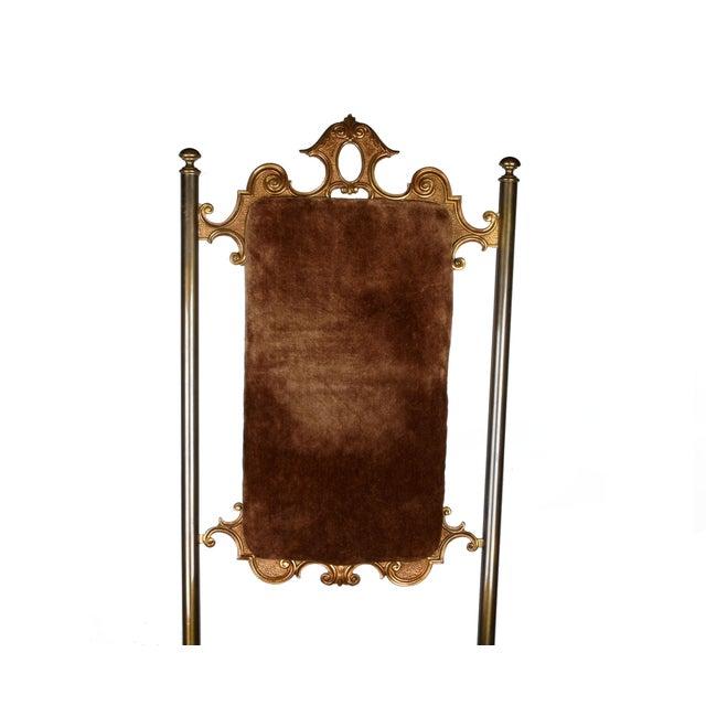 Vintage Brass & Brown Velvet Vanity Accent Chair - Image 5 of 7