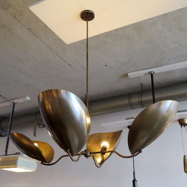 """Mid-Century Modern Four-Arm Raw Brass """"Chiton"""" Chandelier For Sale - Image 9 of 11"""