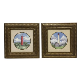 Vintage Framed Lighthouse Prints - A Pair