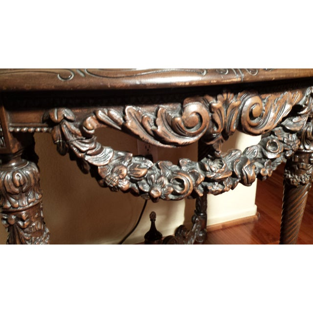 Marble Top Wood Carved Table - Image 3 of 4