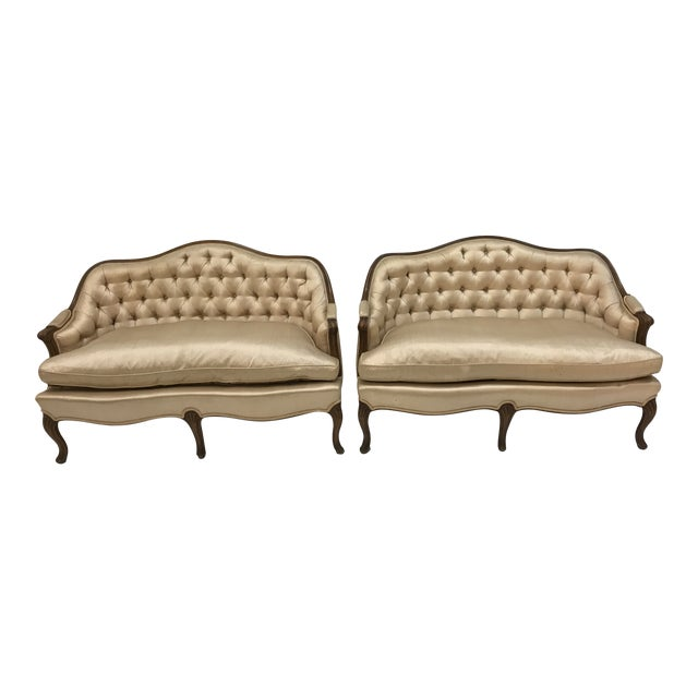 1960s Country French Loveseats Settee Cabriole Leg Louis XV Style Button Tufted Carved Frame - a Pair For Sale