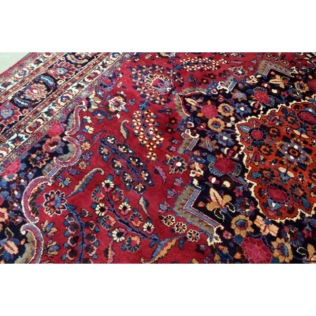 1910s handmade antique Persian Mashad rug 10.2' x 13.9' For Sale - Image 4 of 11