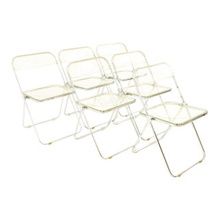 Vintage Mid Century Anonima Castelli Italian Lucite Folding Chairs- Set of 6 For Sale