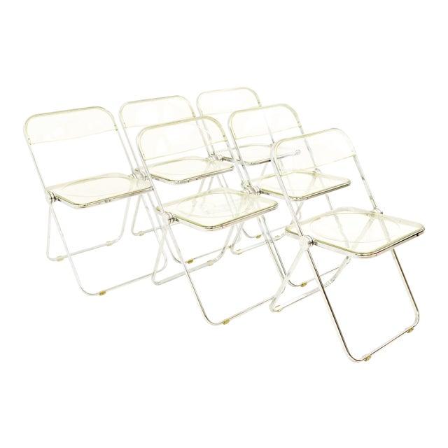 Vintage Mid Century Anonima Castelli Italian Lucite Folding Chairs- Set of 6 For Sale