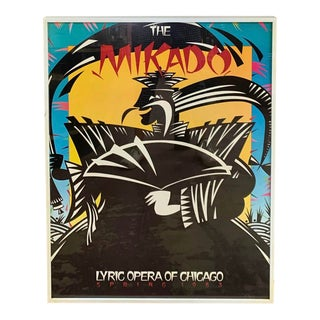 1980s Lyric Opera of Chicago Poster for the Mikado, Framed For Sale