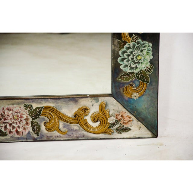 Late 19th Century Antique Venetian Reverse Hand Painted Floral Wall Mirror For Sale - Image 10 of 13
