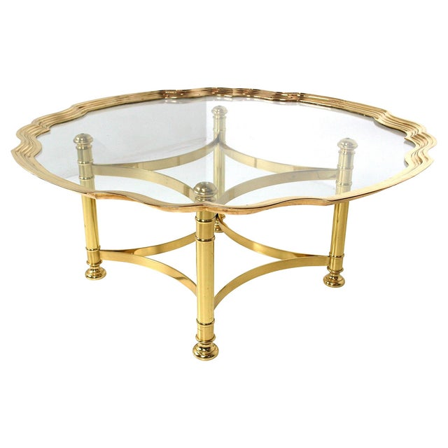 Scalloped Brass & Glass Cocktail Table - Image 2 of 8