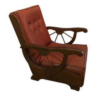 Vintage Mid Century Wooden Red Leather Rocker For Sale