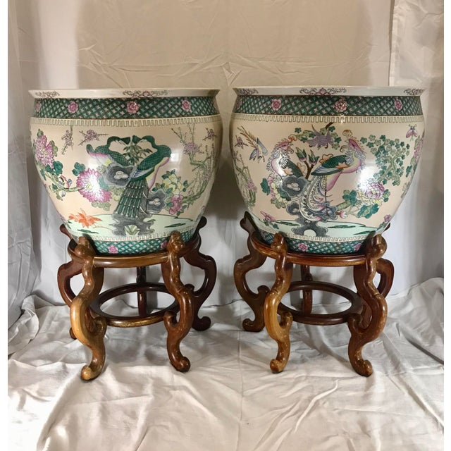 20th Century Chinese Qing Famille Verte Porcelain Jardinieres / Planters - a Pair For Sale - Image 13 of 13
