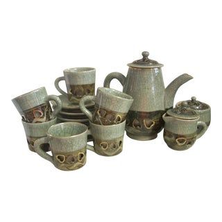 Vintage Japanese Ceramic Coffee Service - Set of 15 For Sale