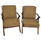 Image of Pair of Gio Ponti Style Mid-Century Modern Rosewood / Walnut Armchairs For Sale