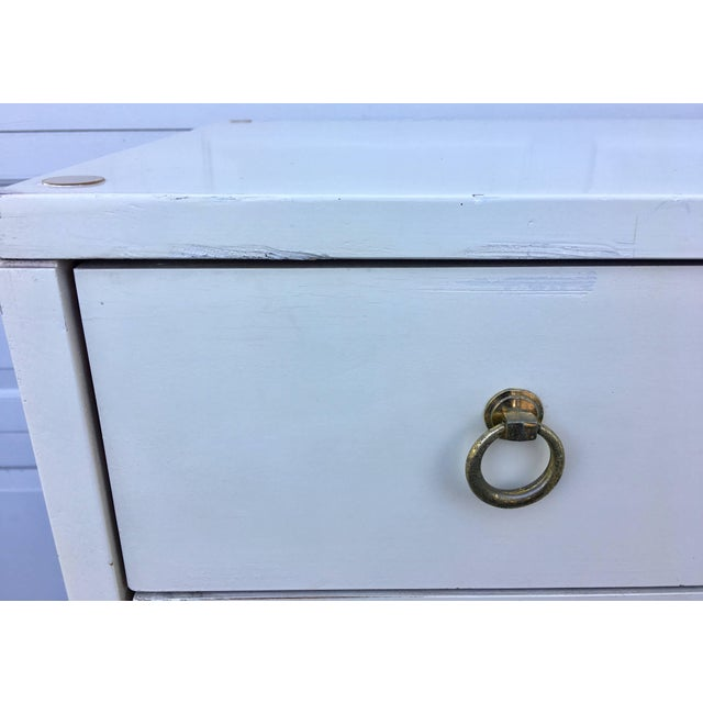 White Dorothy Draper Espana Style Hollywood Regency Tall Chest of Drawers For Sale - Image 8 of 11