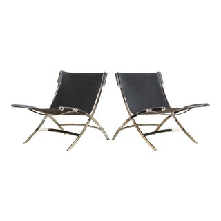 Antonio Citterio for Flexform Chrome & Black Leather Timeless Lounge Chairs For Sale