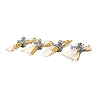 Vintage Silver Duck Napkin Rings With Linen Napkins - Set of 4 For Sale