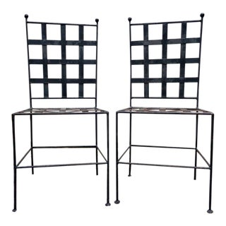 Mid Century Salterini Style Iron Bistro Patio Side Dining Chairs - a Pair For Sale