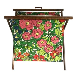 Vintage Folding X-Base Knitting/Sewing Basket For Sale